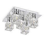 Ritz Five Way Ice Cube Ceiling Light, Chrome
