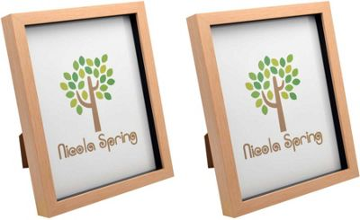 Light Wood Effect 8x10 Box Photo Frame - Standing & Hanging - Pack of 2