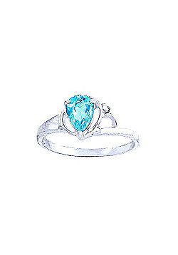 QP Jewellers Diamond & Blue Topaz Glow Ring in 14K White Gold