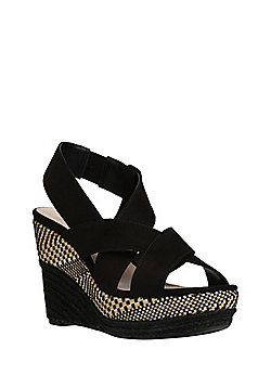 F&F Faux Suede Open Toe Wedge Sandals - Black