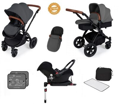 Ickle Bubba Stomp V3 AIO Travel System/Isofix Base/Mosquito Net Graphite Grey (Black Chassis)