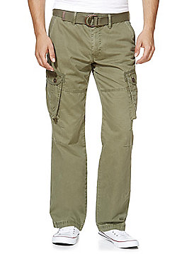 F&F Loose Fit Cargo Trousers with Belt - Khaki