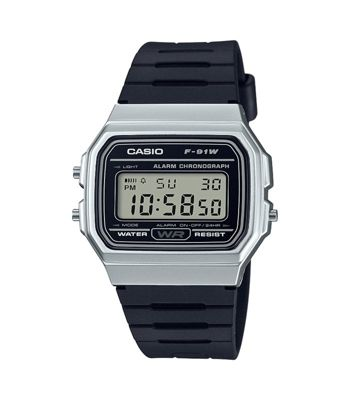 Casio F-91WM-7AEF Casual Digital Watch│Black Rubber Strap│Alarm│Silver Case│New