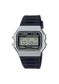 Casio F-91WM-7AEF Casual Digital Watch│Black Rubber Strap│Alarm│Silver Case│New
