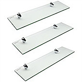 Harbour Housewares Glass Bathroom Shelf With Chrome Fixings - Tempered Glass - 50cm - Pack Of 3