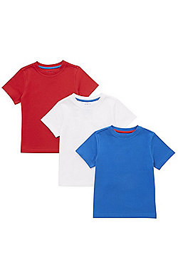 F&F 3 Pack of Crew Neck T-Shirts - Multi