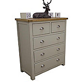 Aspen Painted Sage Grey Oak Chest Of Drawers / Oak 2 Over 3 Chest