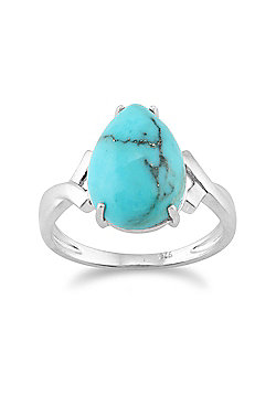 Gemondo Sterling Silver 4.00ct Turquoise Cabochon Pear Claw Set Single Stone Ring
