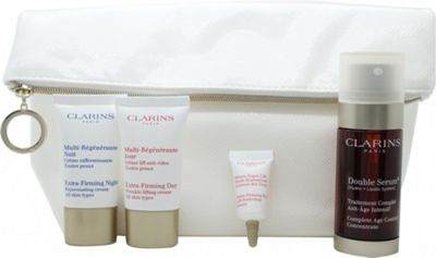 Clarins Skincare Gift Set 30ml Double Serum + 15ml Extra-Firming Day Cream + 15ml Extra-Firming Night Cream + 3ml Extra-Firming Eye Serum + Pouch