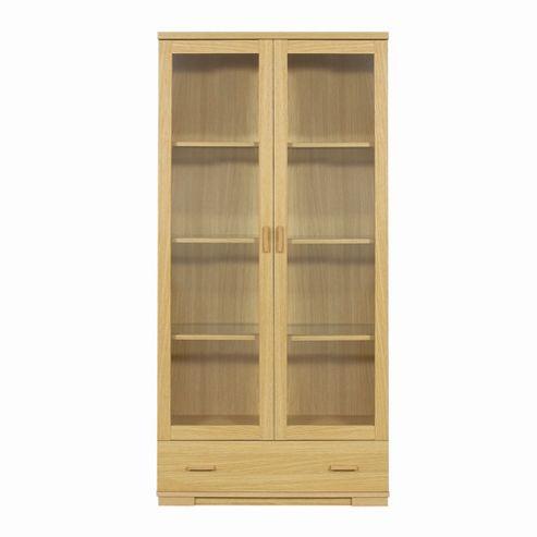Caxton Huxley 2 Glazed Door / 1 Drawer Display Cabinet in Light Oak