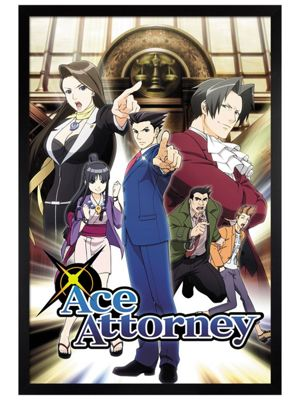 Ace Attorney Black Wooden Framed Poster 61 x 91.5cm