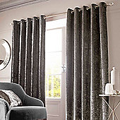 Crushed Velvet Pair Fully Lined Eyelet Curtains - Charcoal Grey - Charcoal