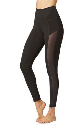 Tummy Control Standard Waist Leggings with Power Mesh Side Panel Black XL
