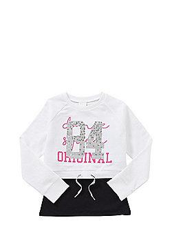 F&F Glitter Varsity Cropped Sweatshirt and Camisole Set - White