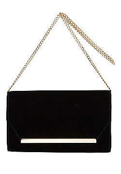 F&F Bar Detail Velvet Clutch Bag