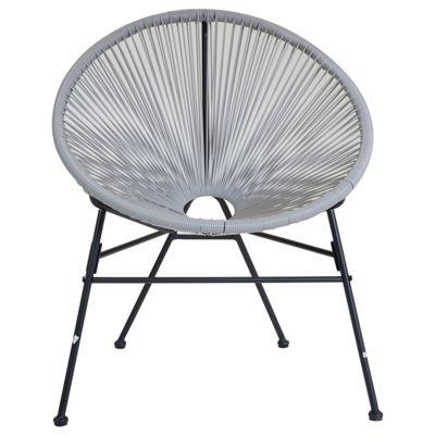 Charles Bentley Retro Rattan Lounge Chair in Grey