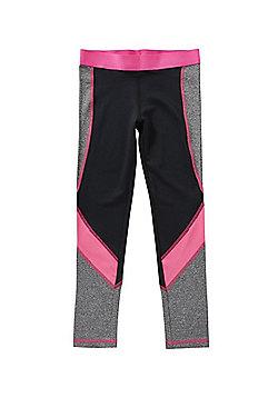 F&F Active Colour Block Leggings - Black & Pink