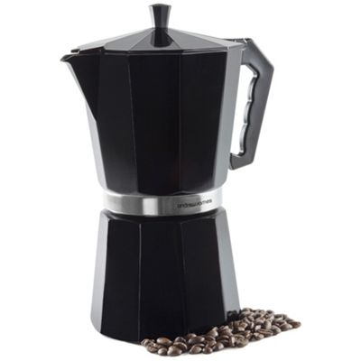 Andrew James Moka Pot Stove Top Coffee Percolator - 12 Cup - Black
