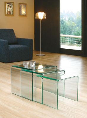 MILAN BENT GLASS NEST OF TABLES (CLEAR)