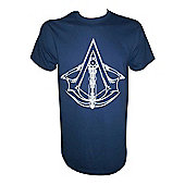 Assassin's Creed Unity Crossbow Crest Logo Small T-shirt, Blue - Gaming T-Shirts