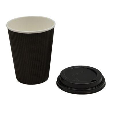 Disposable Coffee Tea Hot Drinks Black Cup & Black Lid 12oz x100