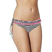F&F Tassel Trim Striped Side Tie Bikini Briefs - Multi
