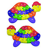 Viga 2 in 1 Wooden 3D Alphabet and Numbers Turtle Jigsaw Puzzle