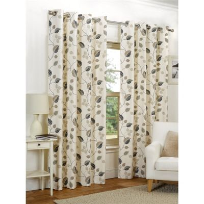 Hamilton McBride April Eyelet Lined Taupe Curtains - 46x72 Inches (117x183cm)