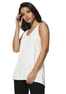 F&F Mercerised Swing Vest Top White 18
