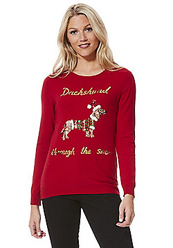 F&F Sequinned Dachshund Christmas Jumper - Red