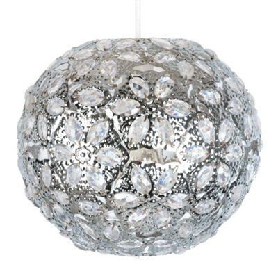 Moroccan Ball Ceiling Light Pendant Shade, Chrome