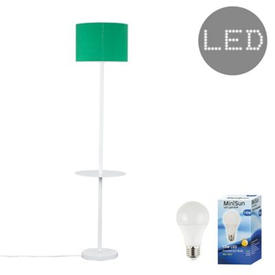 Steward Single Stem LED Floor Lamp with Coffee Table - White & Green