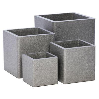 iQbana Set of 4 Graduated Grey Square Garden Planters