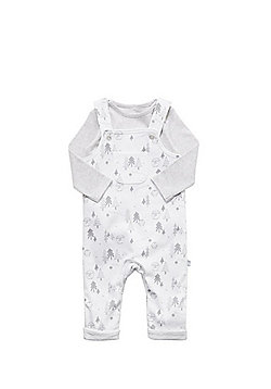 F&F Polar Bear Print Jersey Dungarees and Bodysuit Set - White