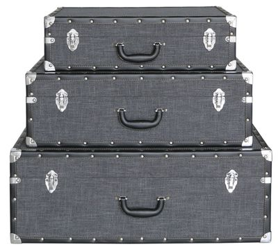 Set Of 3 Grey Brooklyn Storage Suitcases