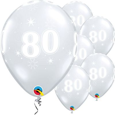 80th Birthday Sparkle Clear Balloon - 11 inch Latex - 25 Pack