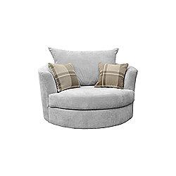 Robee Swivel Cuddle Chair Fabric Silver
