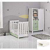 Obaby Stamford Mini Cot Bed/Wardrobe + Sprung Mattress - White with Pistachio