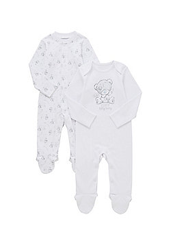 Me to You 2 Pack of Tiny Tatty Teddy Sleepsuits - White