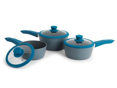 Progress 3 piece saucepan set Teal