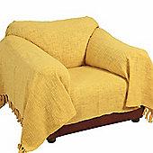 Homescapes Nirvana Slub Cotton Ochre Yellow Throw, 150 x 200 cm