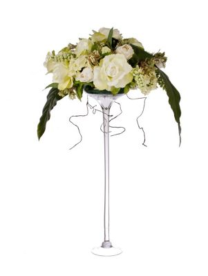 Buy Artificial 80cm White And Green Rose And Mixed Foliage Display