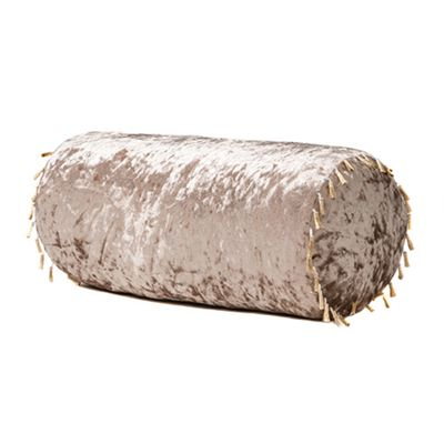Truffle Bolster Crushed Velvet Pillow