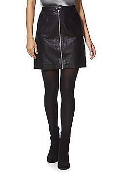 F&F Faux Leather A-Line Skirt - Black