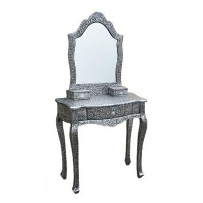 Chaandhi Kar Black - Silver Embossed Dressing Table with Mir