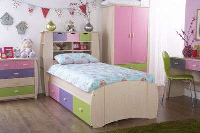 Sydney Single Bed Including 3 Drawers Pink
