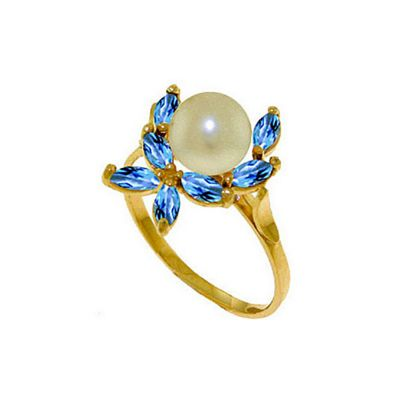 QP Jewellers Blue Topaz & Pearl Ivy Ring in 14K Gold - Size F