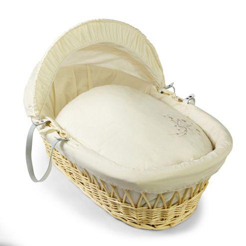 Clair de lune Starburst Natural Wicker Moses Basket - Cream