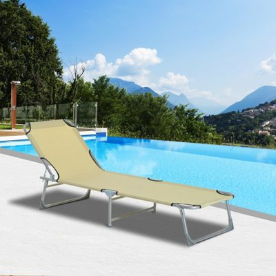 Outsunny Folding Sun lounger Camping Reclining Chair (Beige)