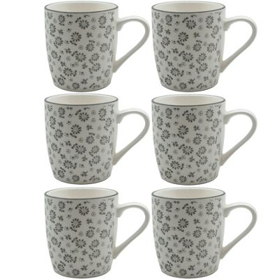 Flower Design Porcelain Tea Coffee Mug, Cups White / Grey 280ml x6